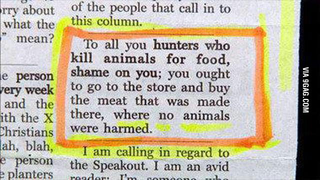 To all you hunters who kill animals for food...