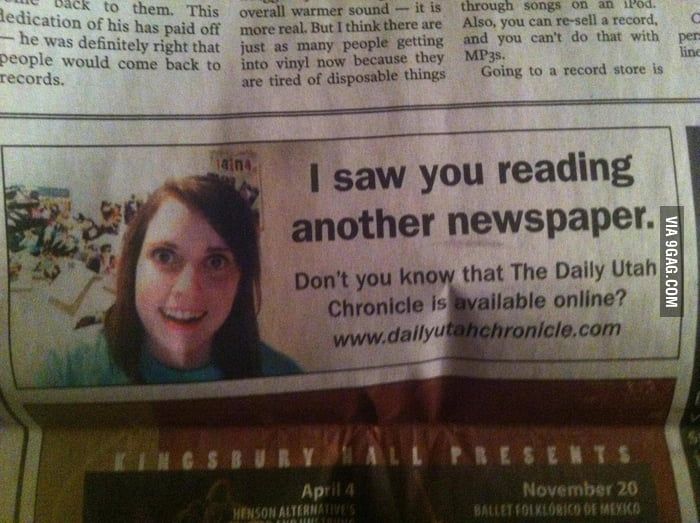 Overly Attached Newspaper