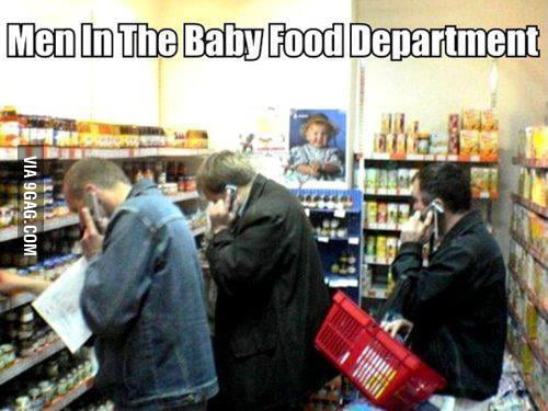 Men at the baby food department