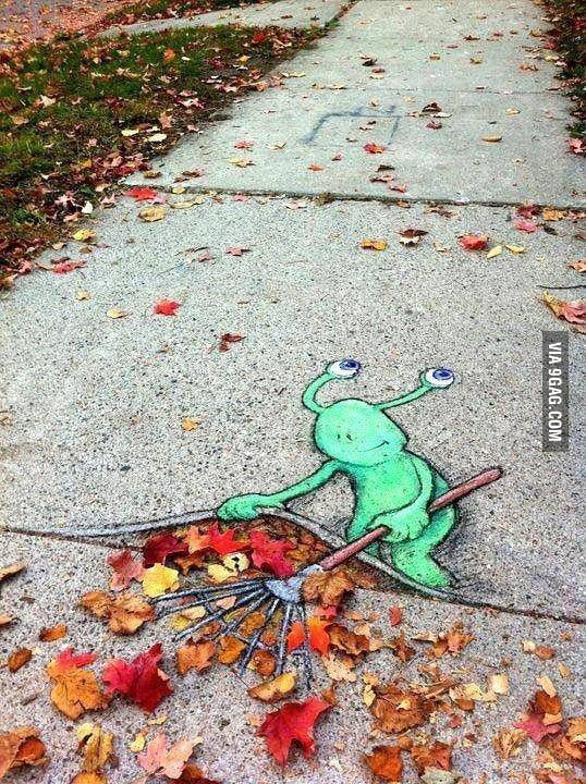 Fall sidewalk chalk art