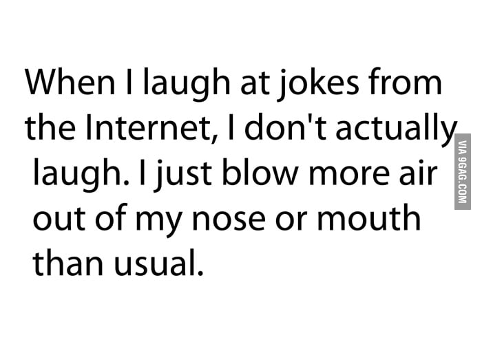When I laugh at jokes on the internet