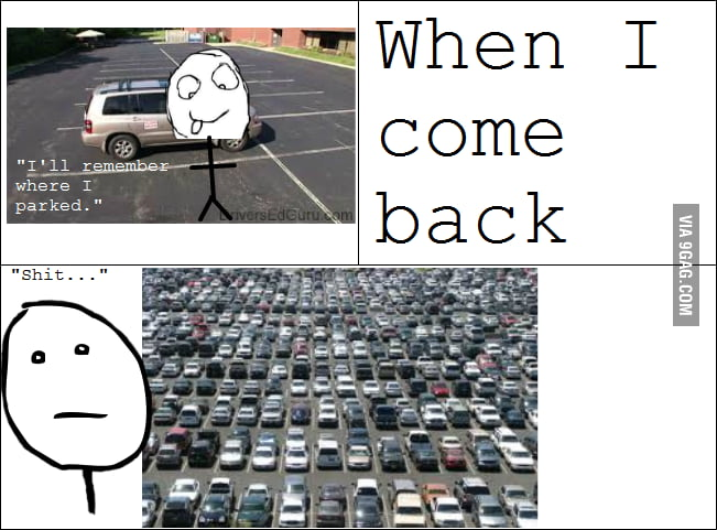 Everytime I park my car.