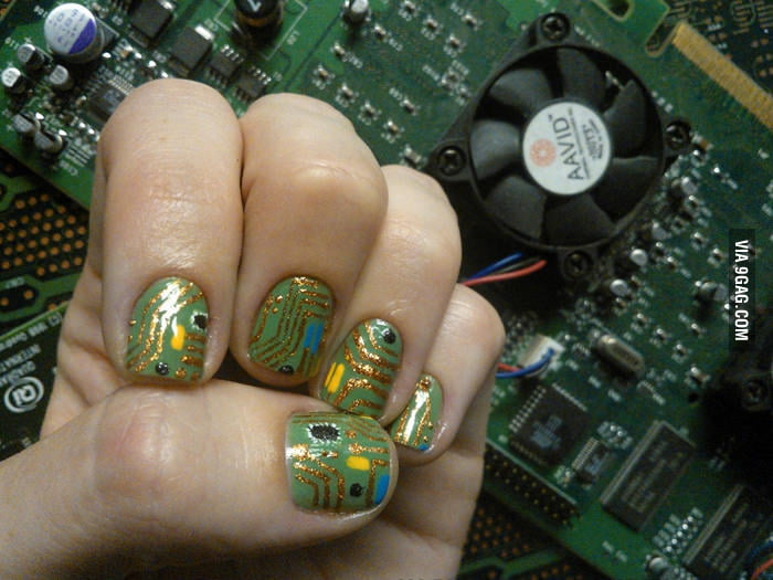 Circuit Board Fingernail Art