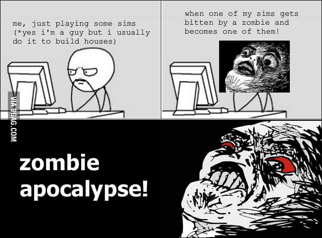 Playing The Sims' zombie expansion pack.
