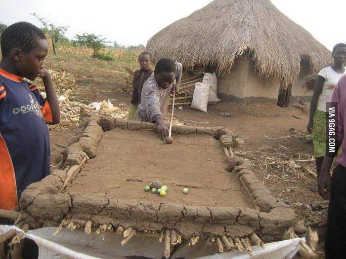Playing snooker in Africa.