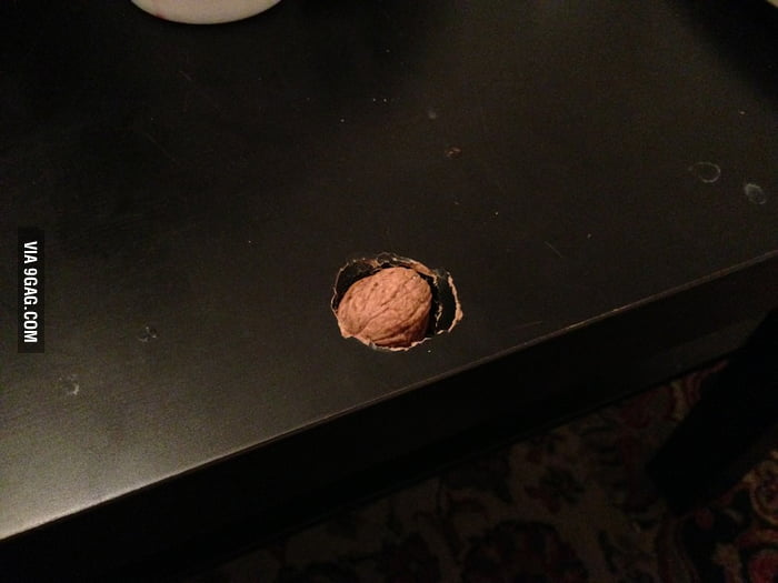Tried to crack a nut on my coffee table.