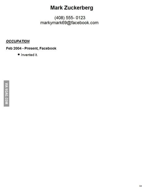 Mark Zuckerberg S Resume Leaked 9gag