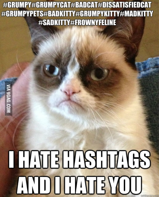 Grumpy Cat on Facebook Hashtags