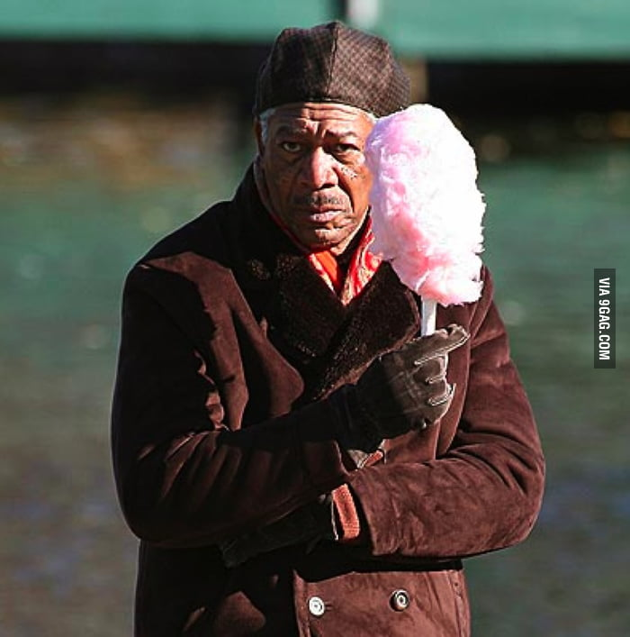 Morgan Freeman with cotton candy.
