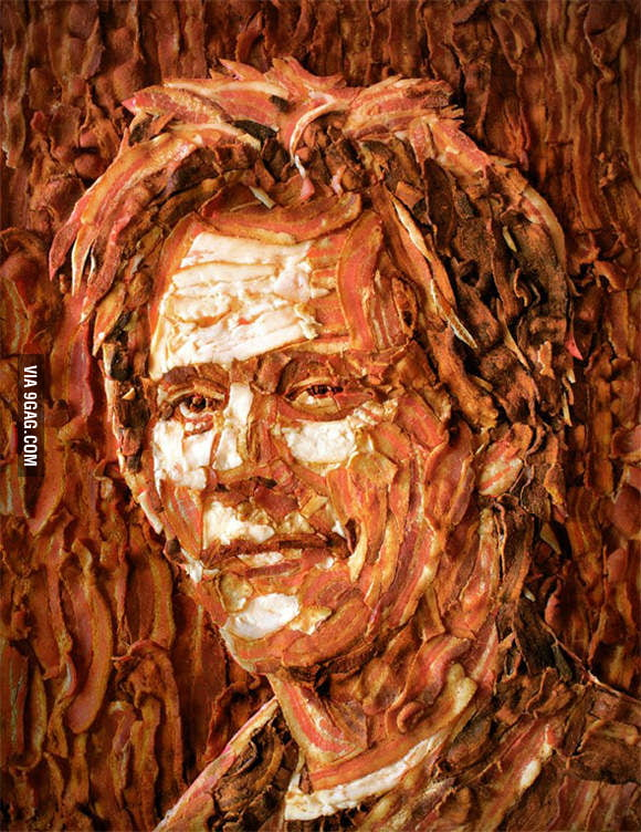 Kevin Bacon made out of bacon.