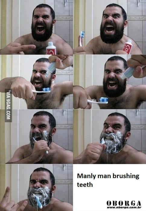 Manly man brushing teeth