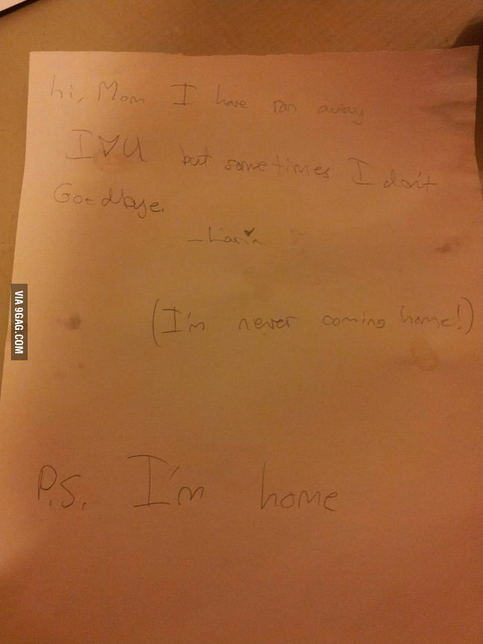 A note a 7 year old kid wrote.