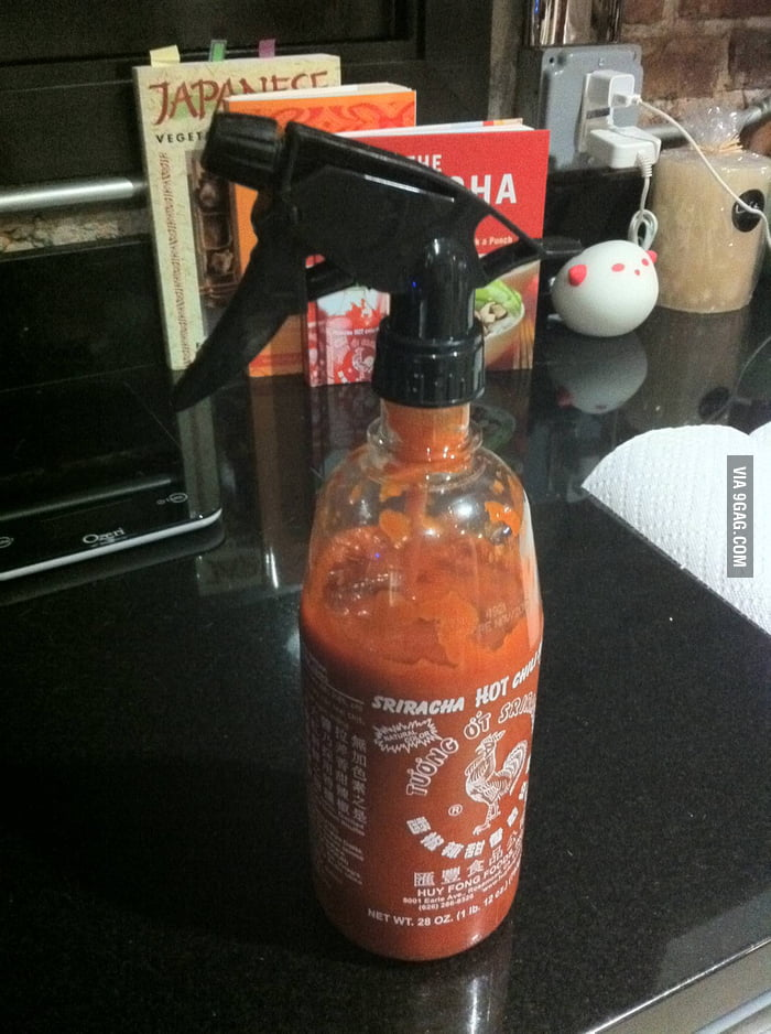Genius! Sriracha spray!