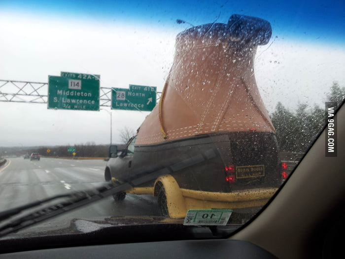 Saw a big boot on the road wh