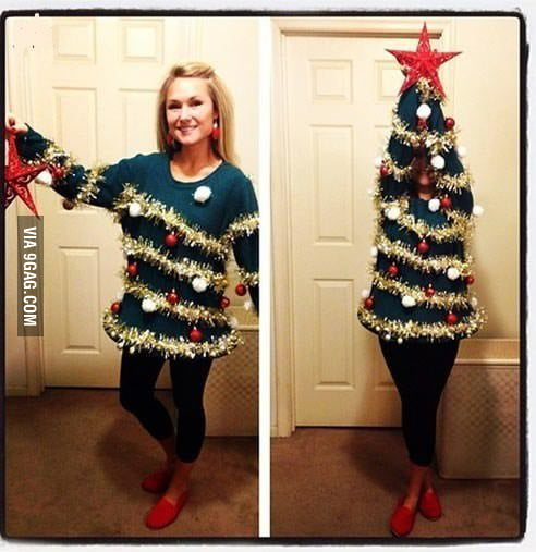 Woman Christmas Tree