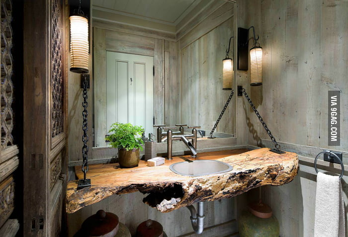 Rustic bathroom design.