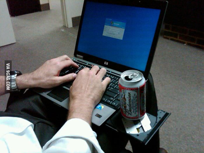 The new use of a CD-ROM drive - beer holder!