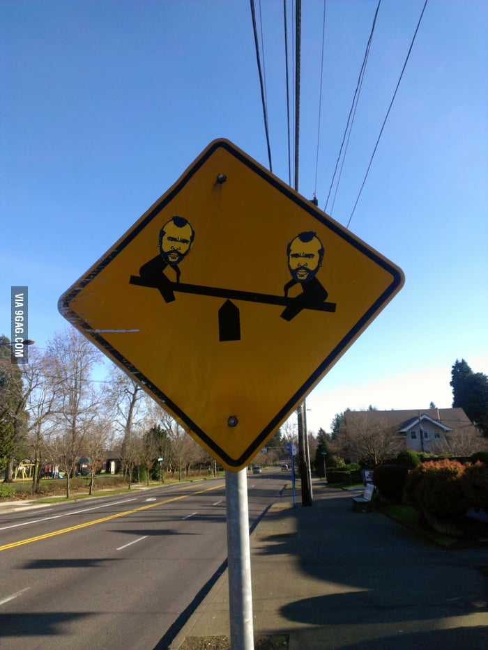Mr Ts are having fun on this road sign.