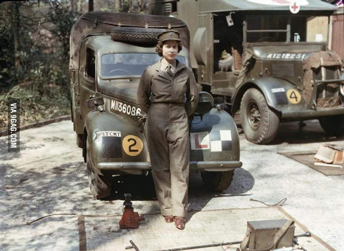Queen Elizabeth during WWII (1945).