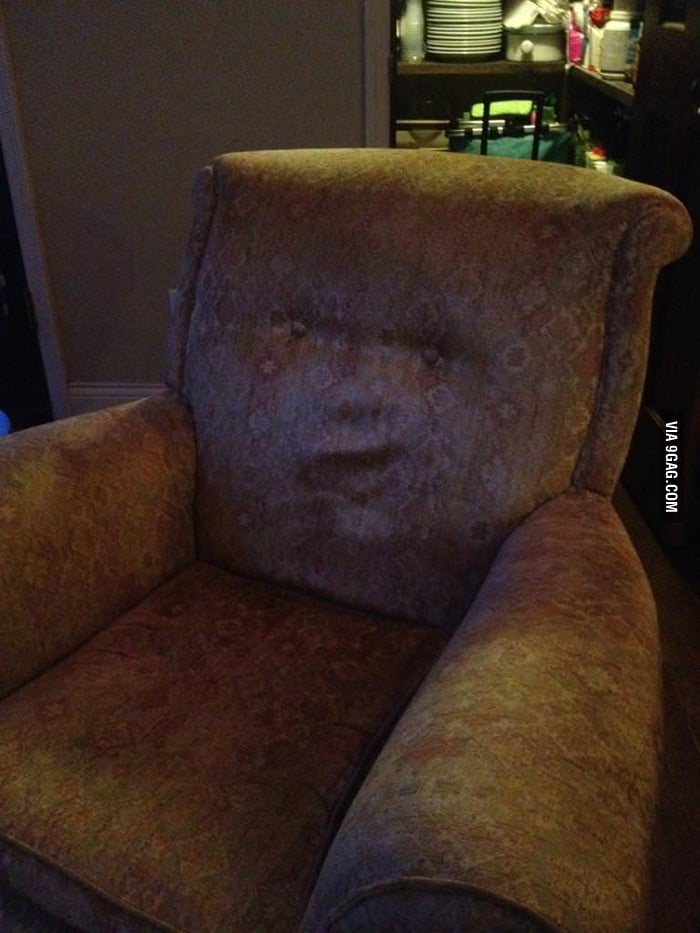I think my sofa has a face.