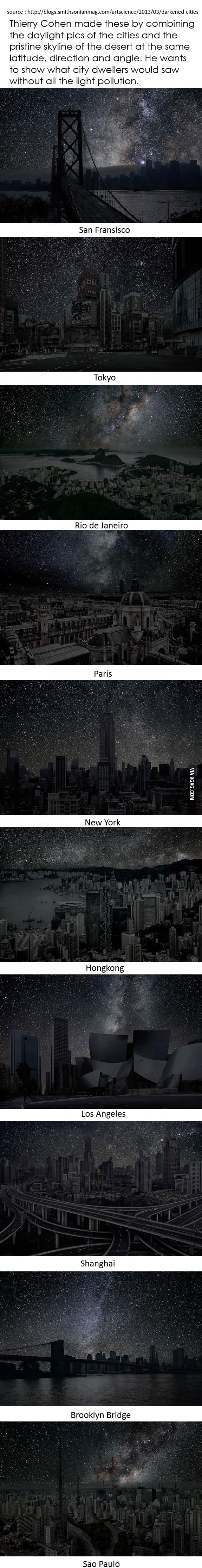 Cities' pure night skyline