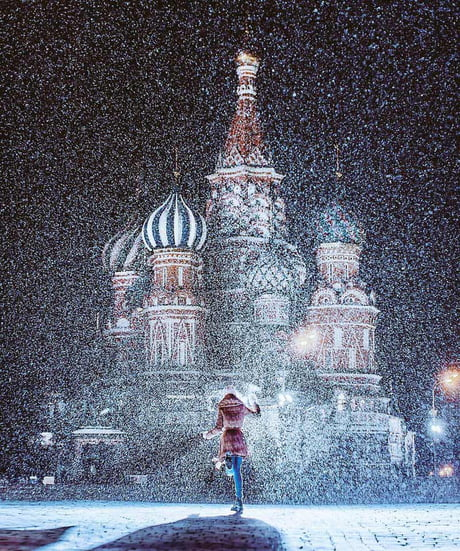 Dancing in front of St Basil's Cathedral.