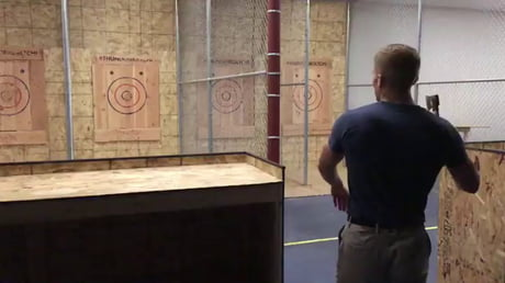 When it's your first time axe-throwing, but your ancestors were Vikings