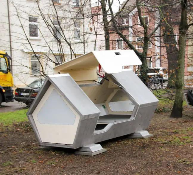 A German city has installed a number of pods for homeless people fitted with thermal insulation to sleep in