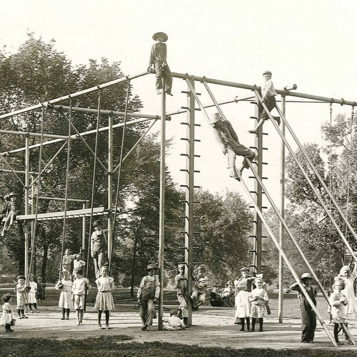 An early playground made of metal, built 12 feet above concrete floors, Cedar Rapids, early 1900s.