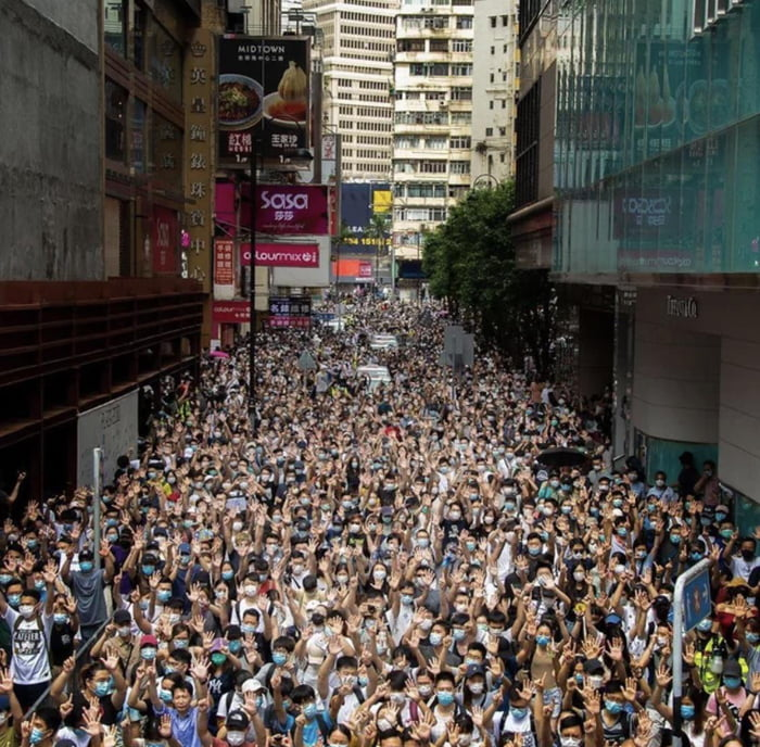 Hong Kongers stand 12 hours after the national security law is effective