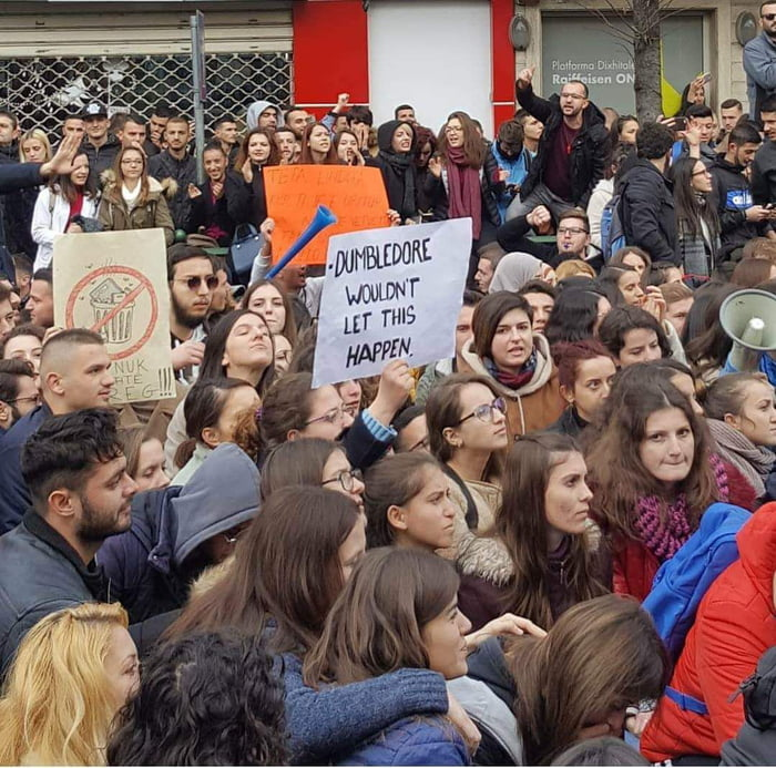 Student protest about university fees in Albania