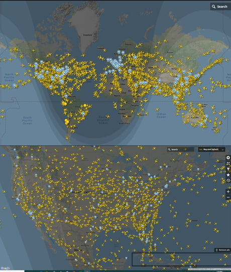 I was just wondering how many airplanes are on flight right now. And the answer is ~13,000 !! If we put an average of 200 passengers per flight that would be 2,600,000 people. And nobody gives a shit, I know.. but.. whatever.. 1