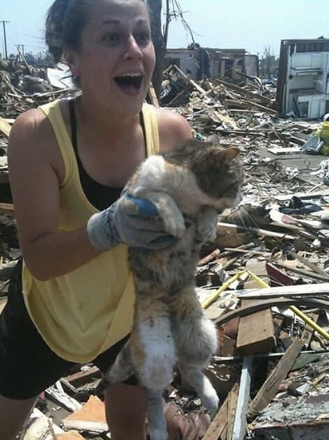 Found her cat 16 days after the tornado