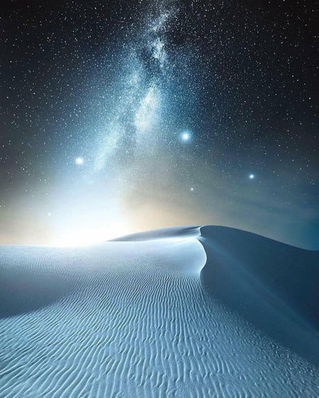 White Sands and the Milky Way Galaxy, New Mexico.