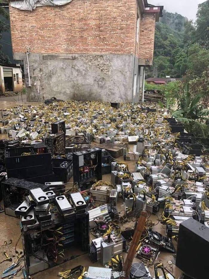 Flooded Bitcoin mining farm