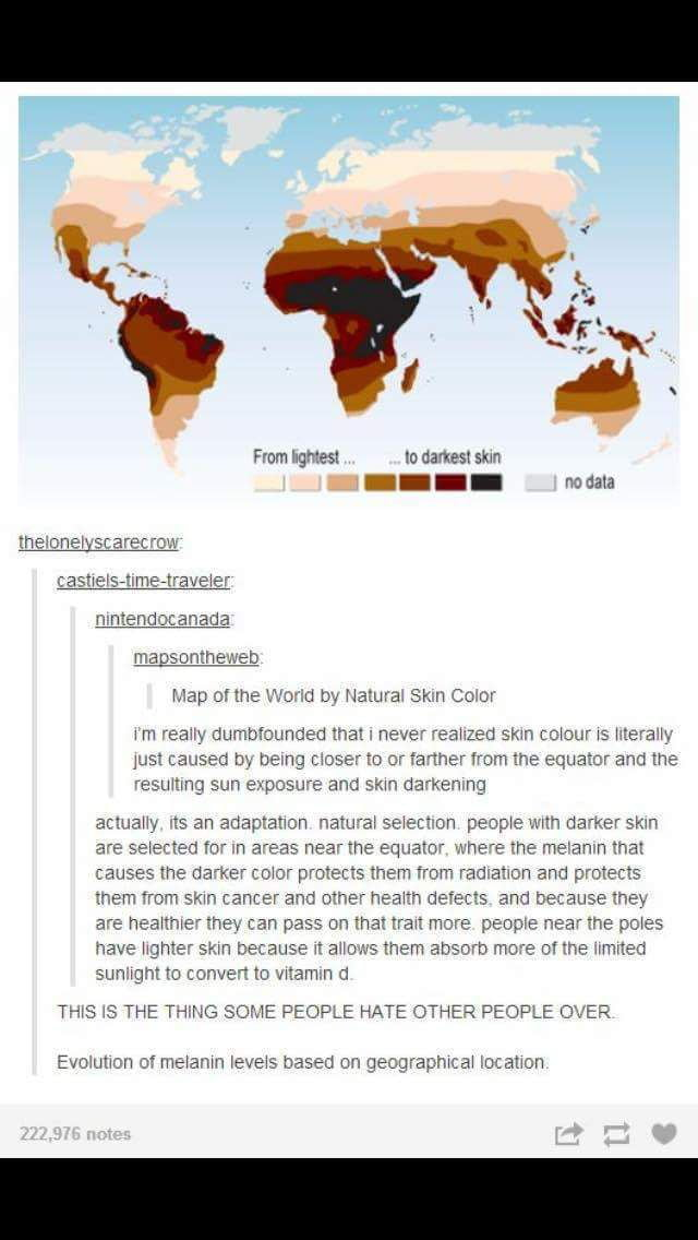 The efficiency of skin color