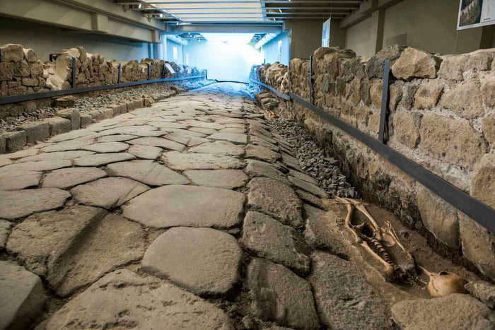 A Roman Road was discovered while excavating for a new McDonalds in Marino, Italy. They incorporated a glass floor in the restaurant after excavations were complete