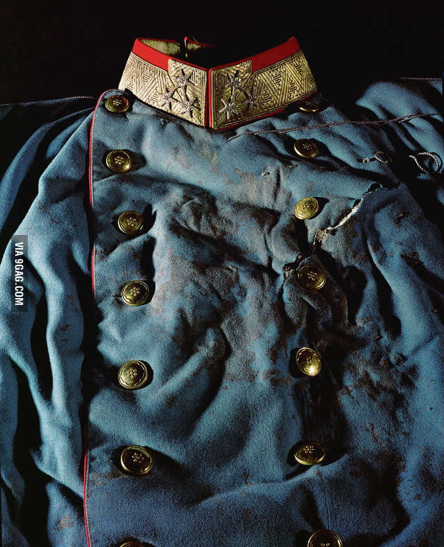 The bloodstained coat of the Archduke Franz Ferdinand, whose assassination's 100th Anniversary is today.