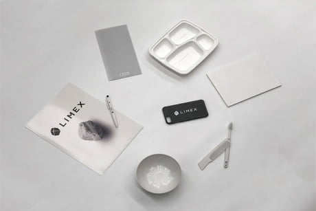 Awesome Limex is a new material made of limestone which can replace petroleum based plastics and cellulose paper.