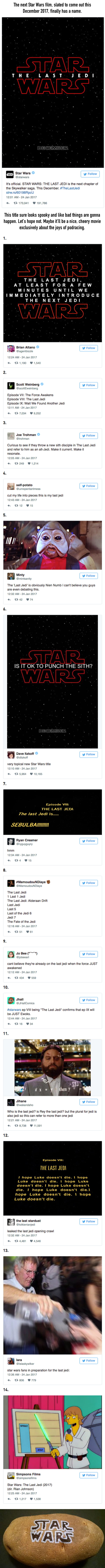 "14 Funniest Reactions To Newly Announced ""Star Wars: The Last Jedi"""