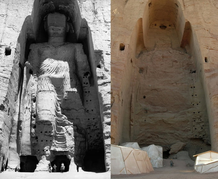 The Buddhas of Bamiyan, two 6th-century monumental statues standing 170 feet tall, carved into the side of a cliff in the Bamyan valley of central Afghanistan. The statues were blown up and destroyed in March 2001 by the Taliban.