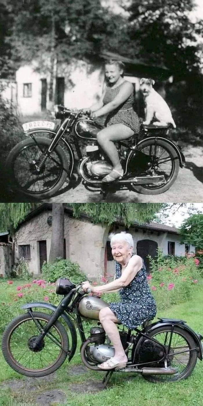 Same girl, Same bike, 71 years later