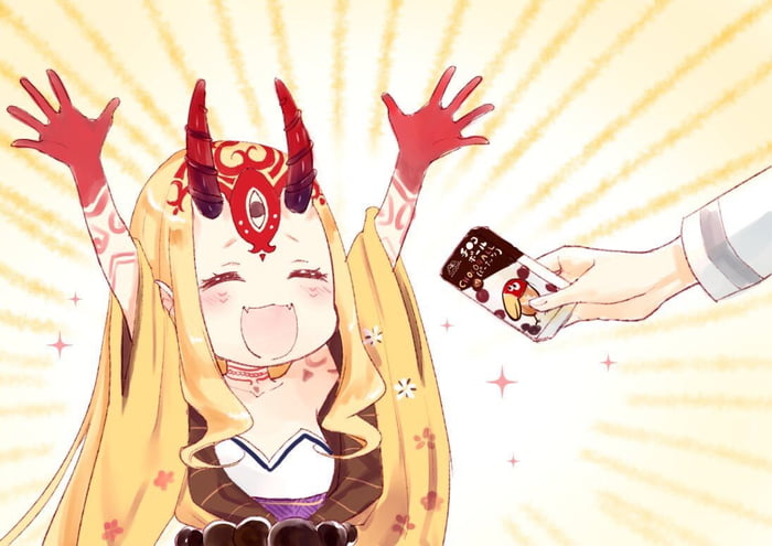 Having a bad day? Here's a happy Ibaraki getting choco snacks to cheer you up