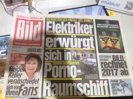 German newspaper headline: electrician strangles himself to death in self built porn-space-ship...