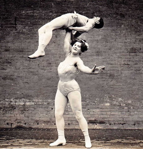 "Katie Sandwina, born in 1884 and known as ""Lady Hercules"", could bend iron bars and lift her 165-pound (75kg) husband above her head with one hand. She performed until her 60s 1"