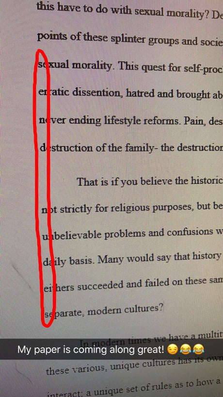 I snuck this in a paper about sexual morality ( ͡° ͜ʖ ͡°)