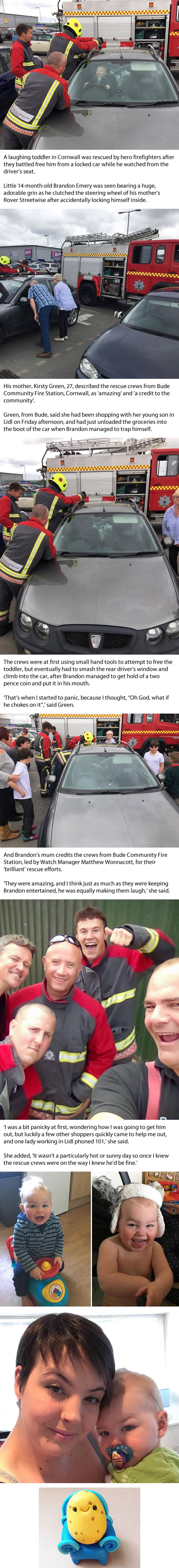 Tot gear: Toddler who accidentally locked himself in his mother's car laughs as five firefighters try to free him