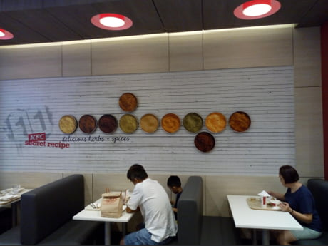This KFC in the Philippines openly advertises the images of its 11 herbs and spices