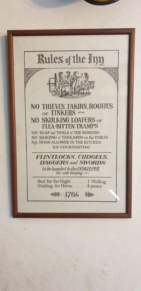 Awesome An old set of rules for an inn 1786