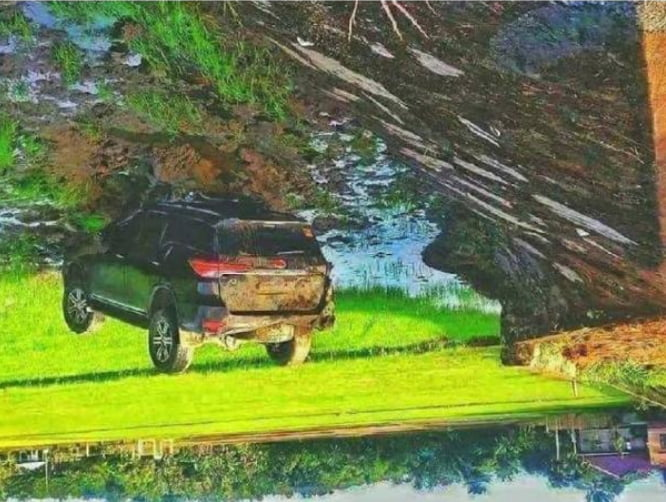 It's just a beautiful painting until you tilt your phone upside down.